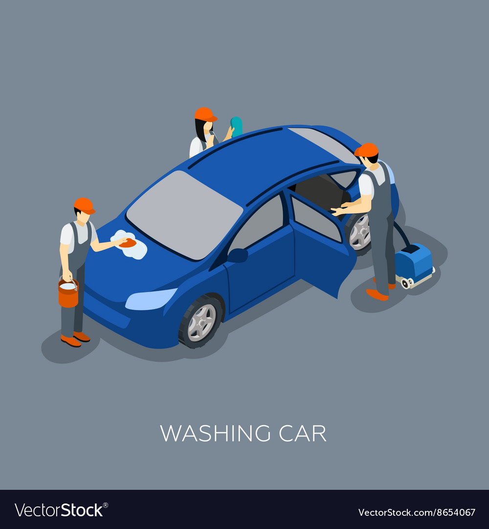 Autoservice team washing car isometric banner vector