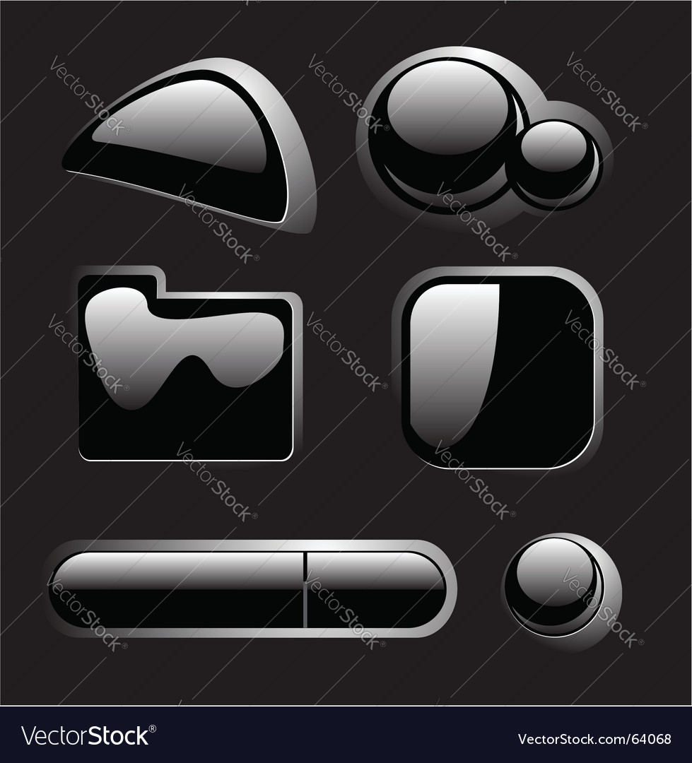 Black buttons vector