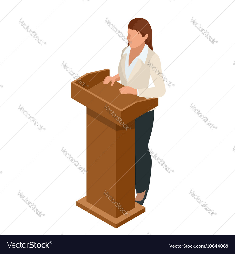 Business woman giving a presentation in a vector