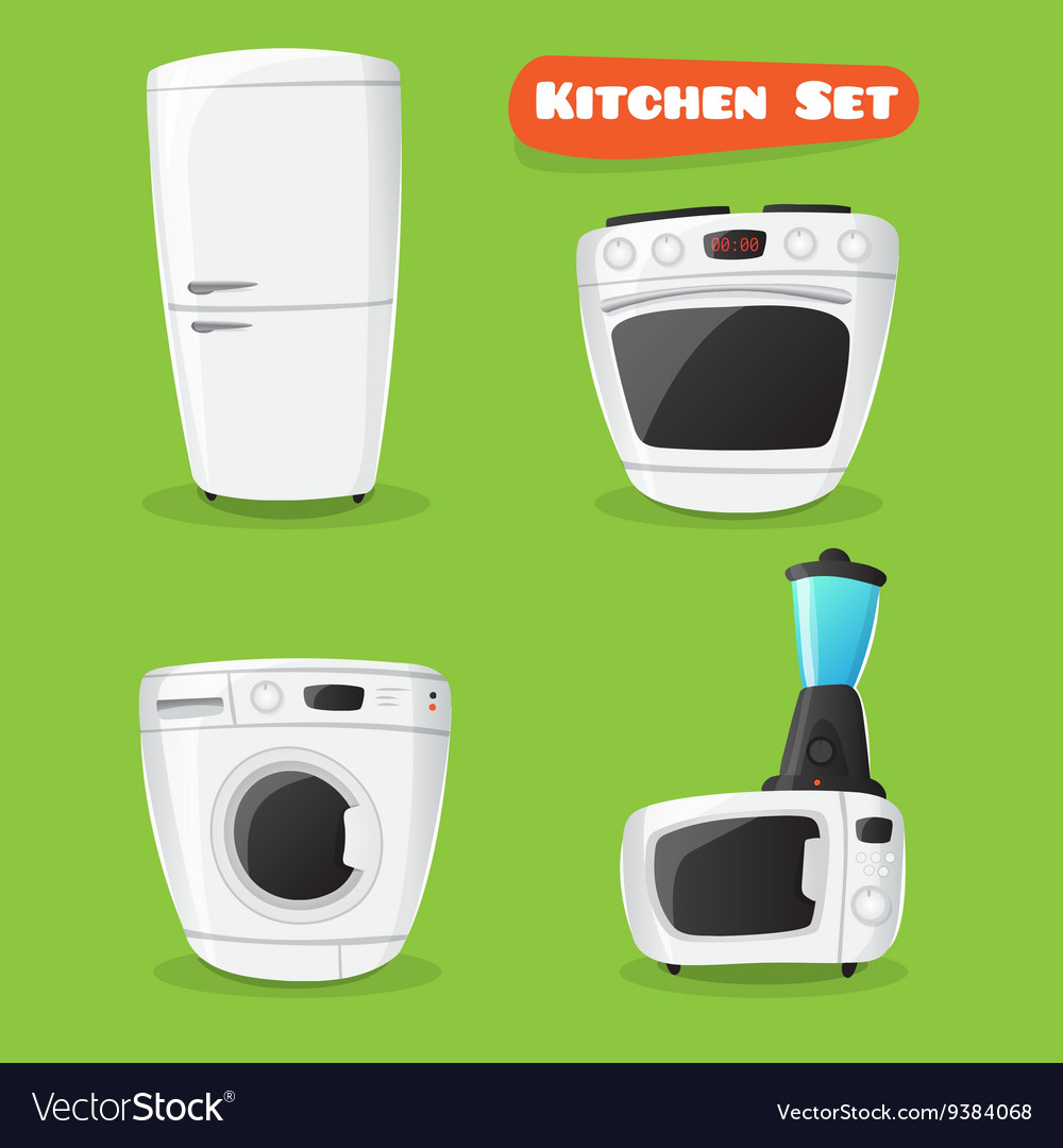 Kitchen appliance collection fridge stove vector
