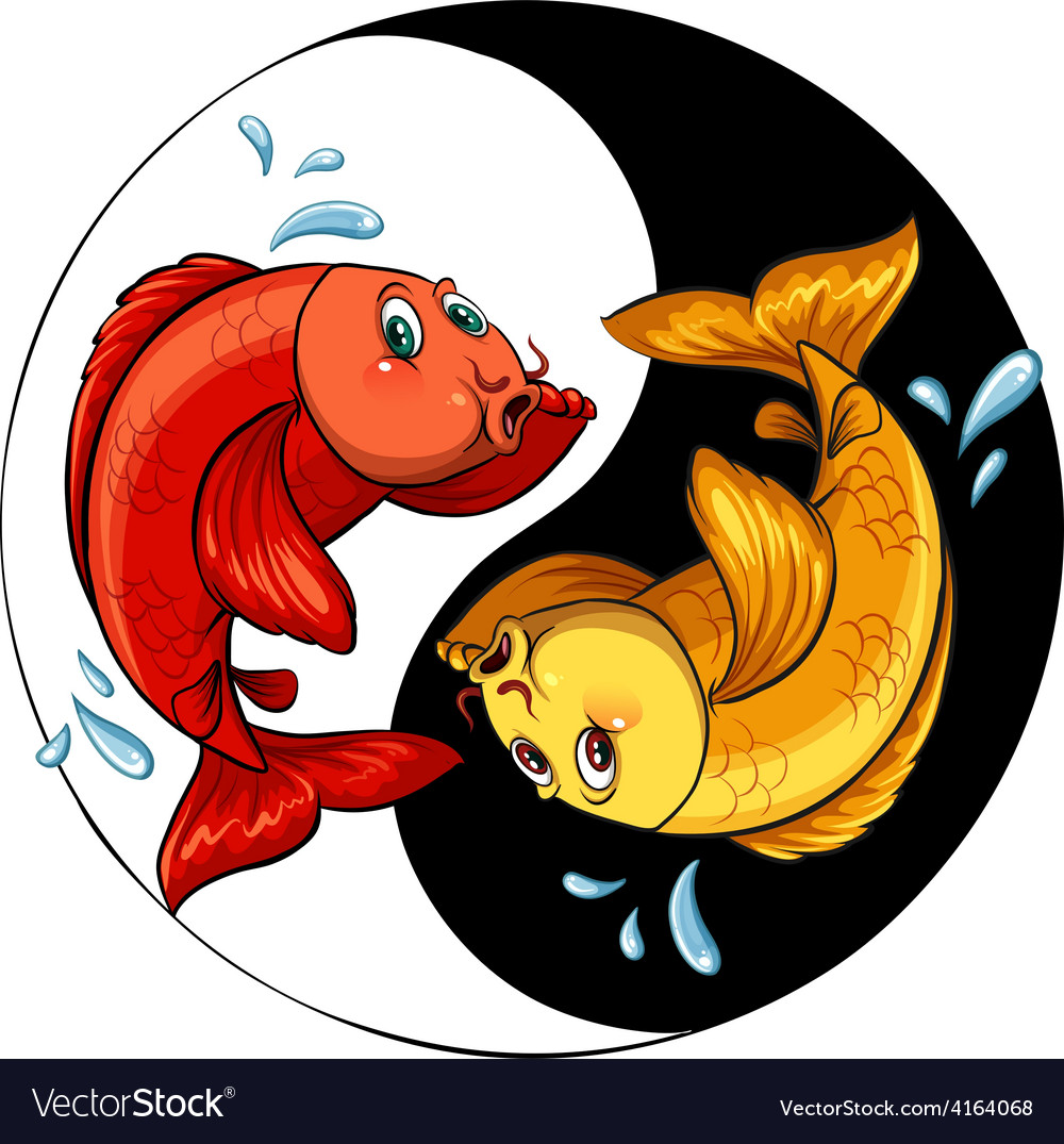 Template of two fishes vector
