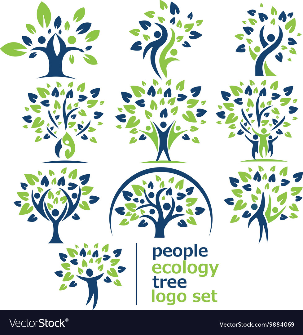 People ecology tree logo set vector