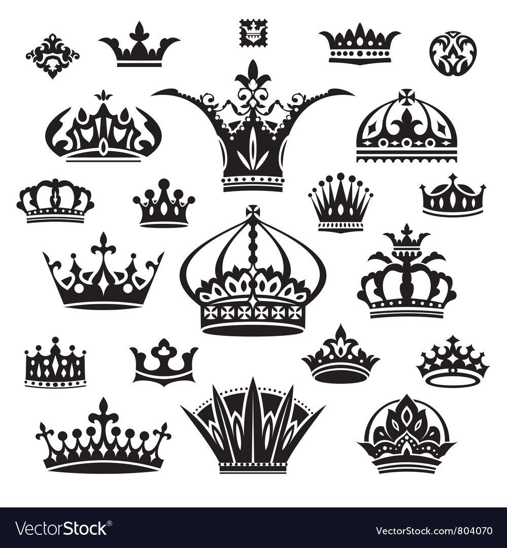 Set of different crowns vector