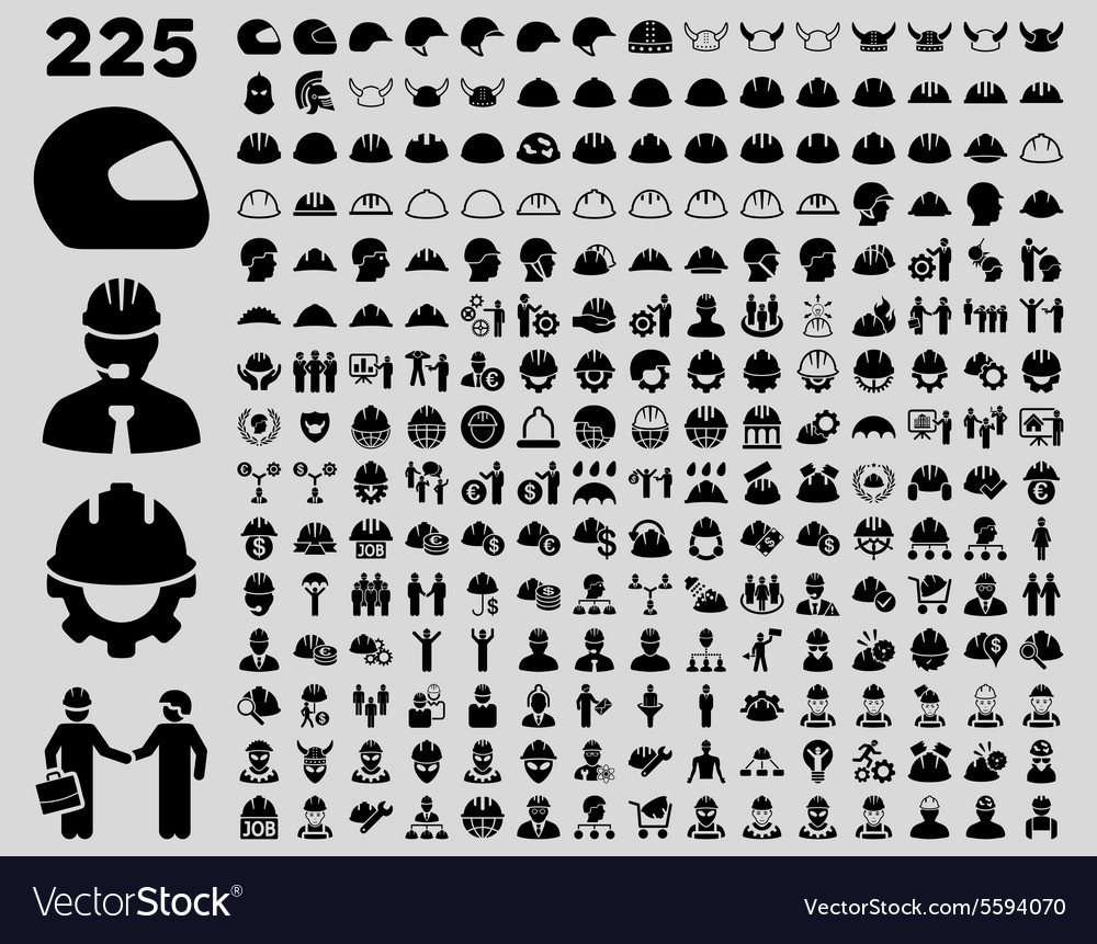 Work safety and helmet icon set vector