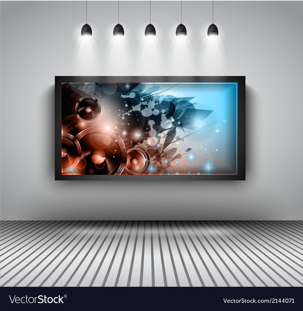 Modern interior art gallery frame design with vector