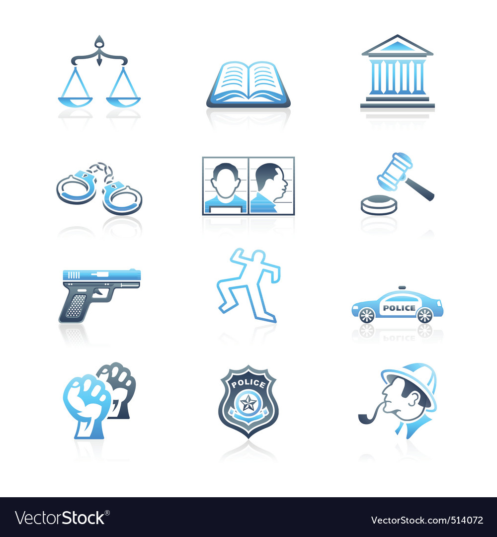Law and order icons  marine series vector