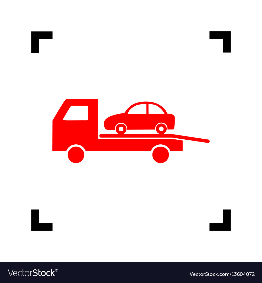 Tow car evacuation sign red icon inside vector