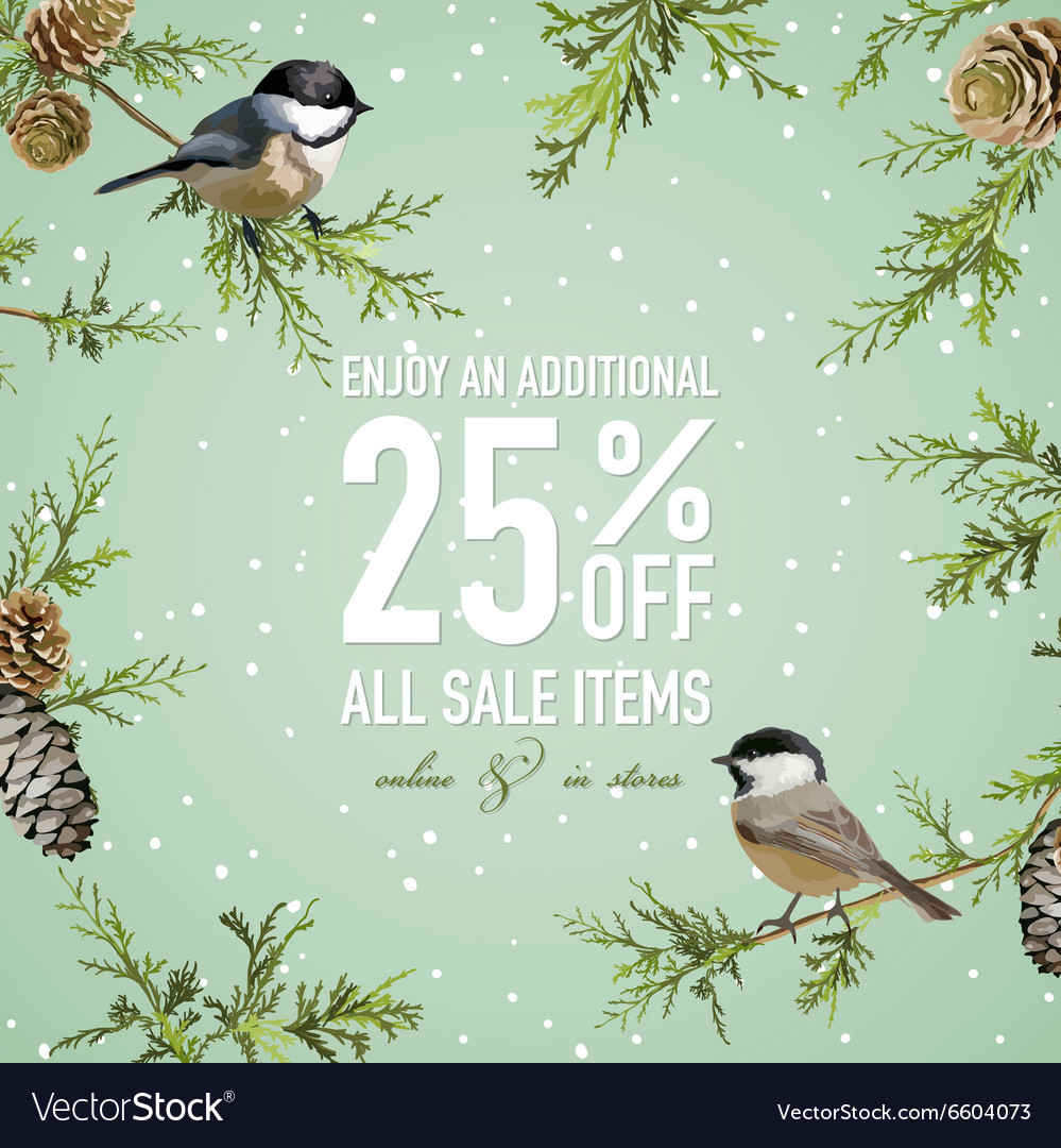 Christmas sale poster or banner  with winter bird vector