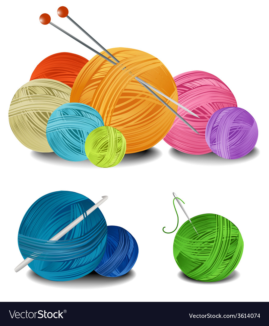 Balls of wool vector