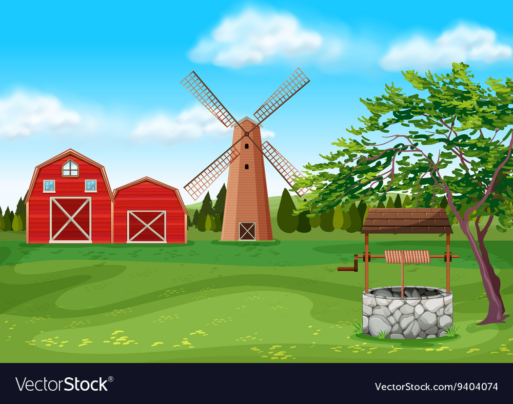 Barns and windmill in the farmyard vector