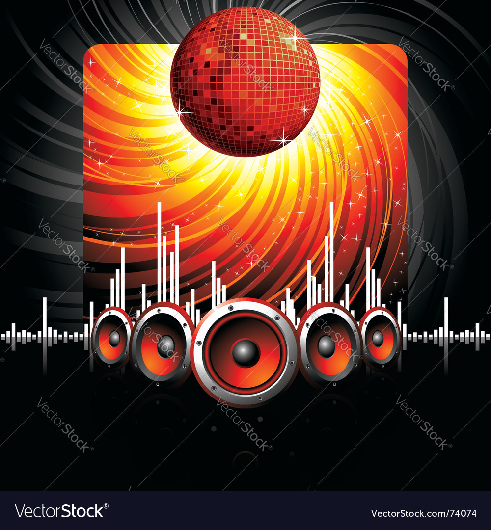 Musical theme with speakers vector