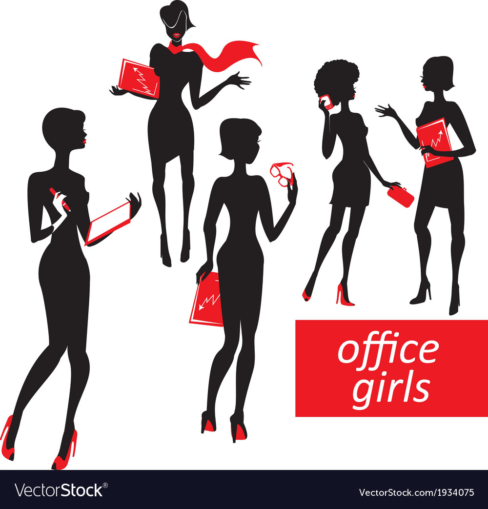 Set of fashionable business girls silhouettes on a vector