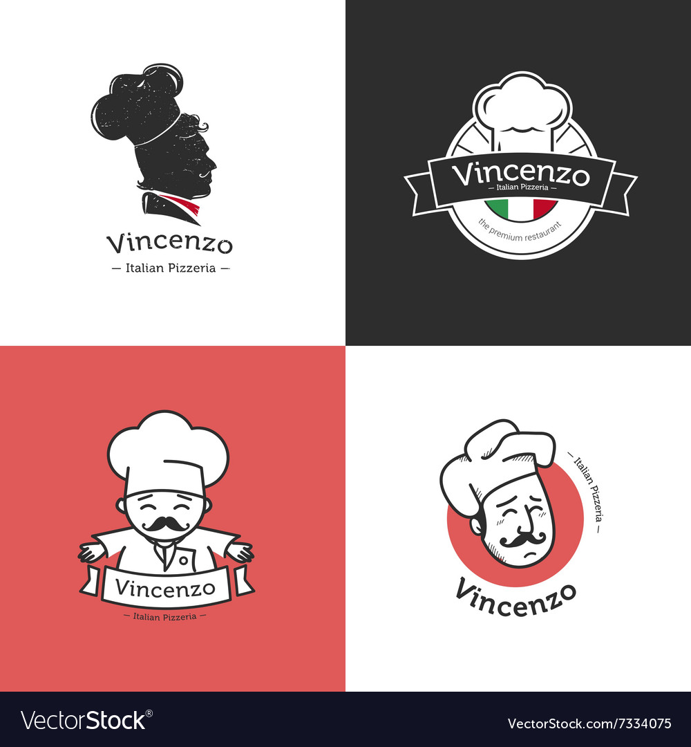 Set of retro classic badges for pizza vector