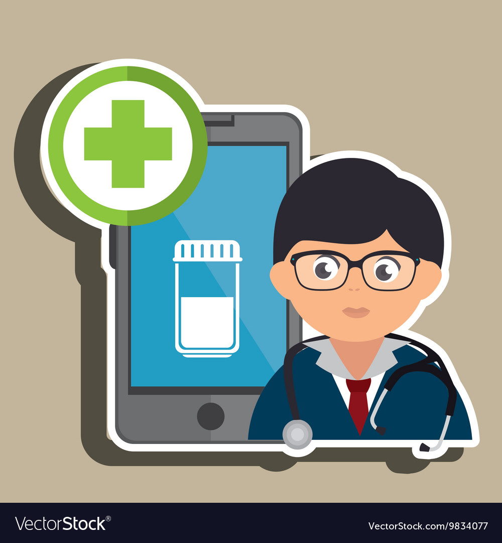 Doctor with bottle pill isolated icon design vector