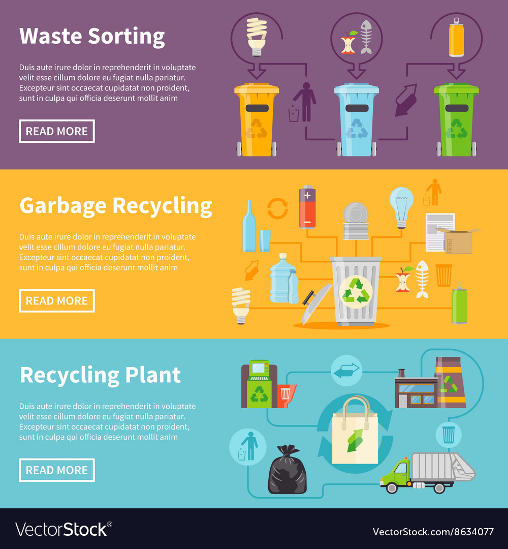 Garbage recycling banners set vector