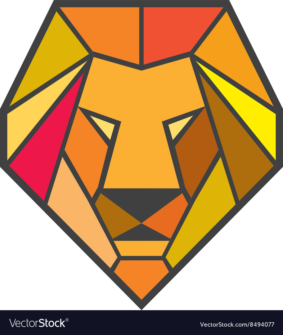 Lion head low polygon vector