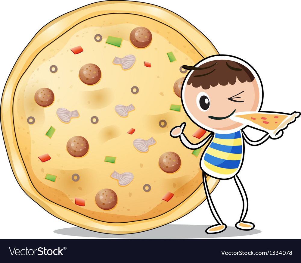 A boy beside a big pizza vector