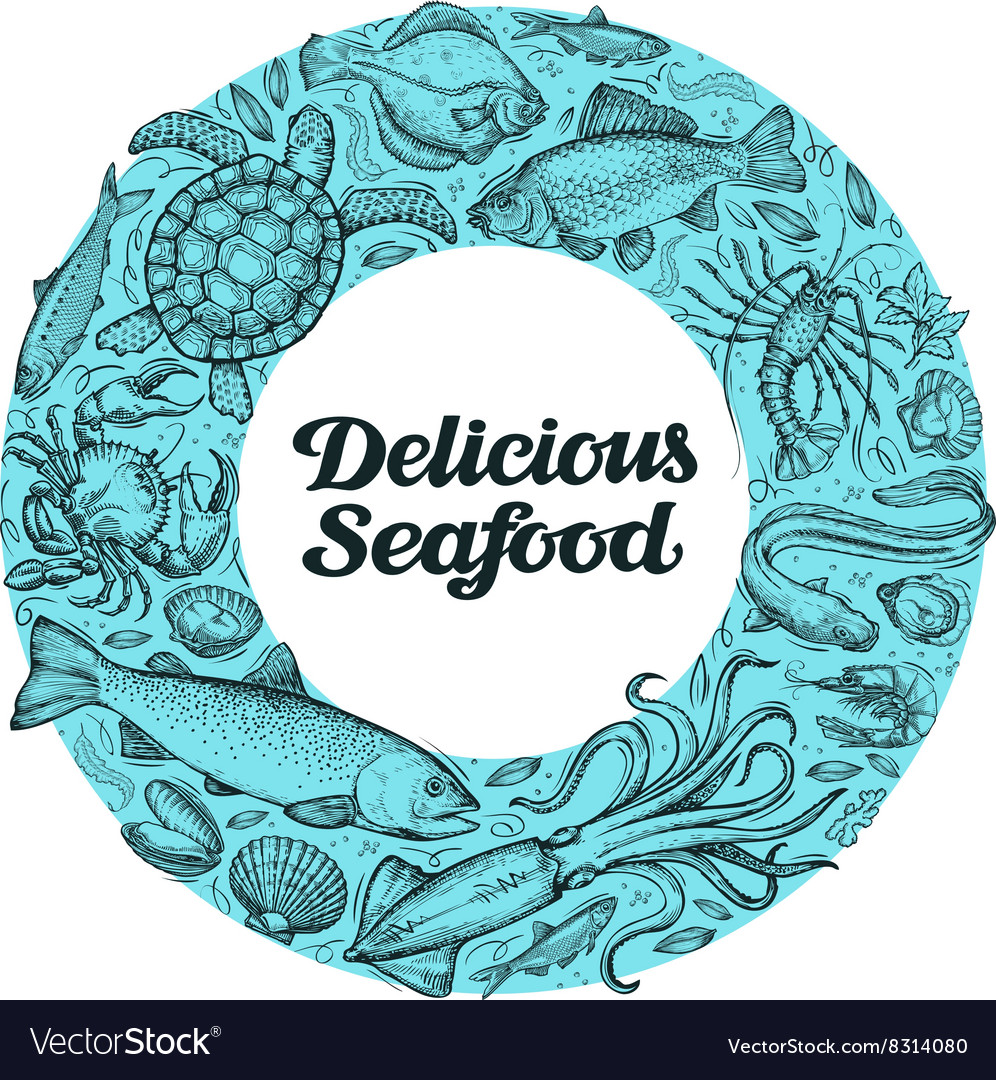 Delicious seafood hand drawn sketches on the vector