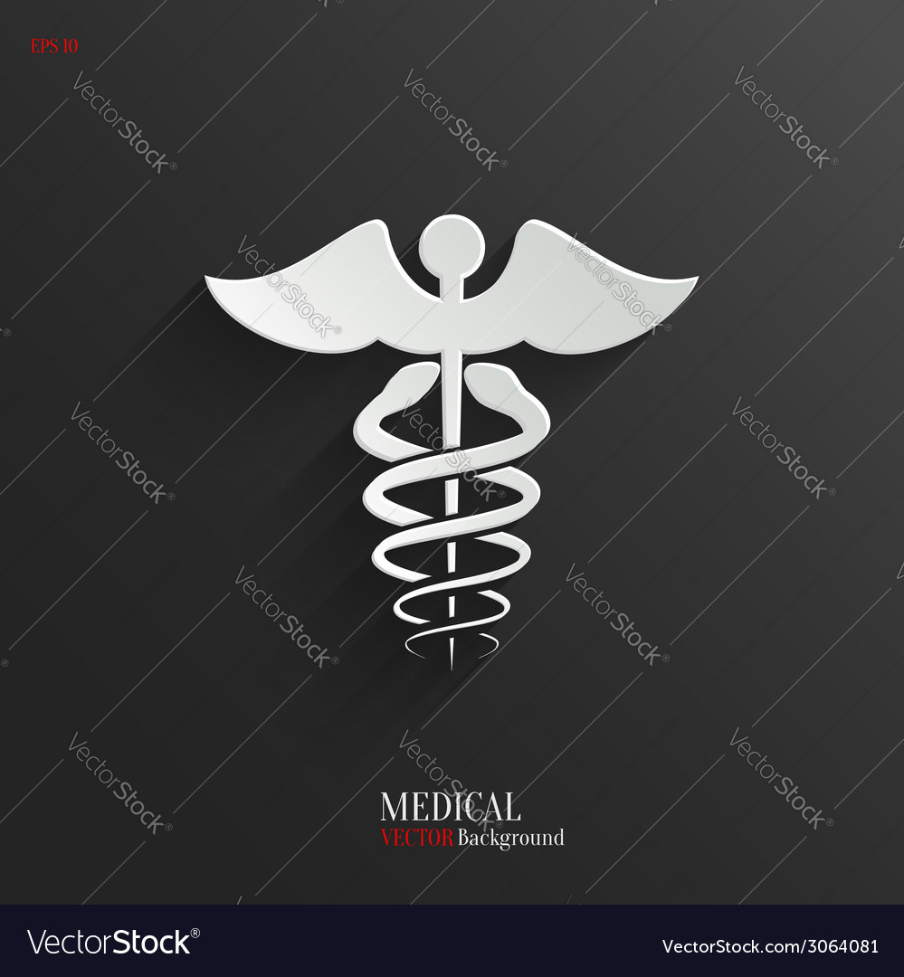 Caduceus medical symbol white app icon vector