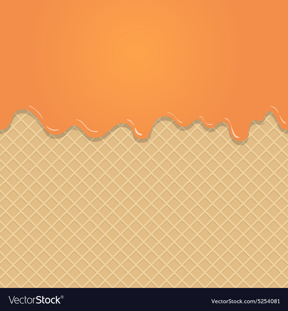 Caramel vanilla melted on wafer background vector