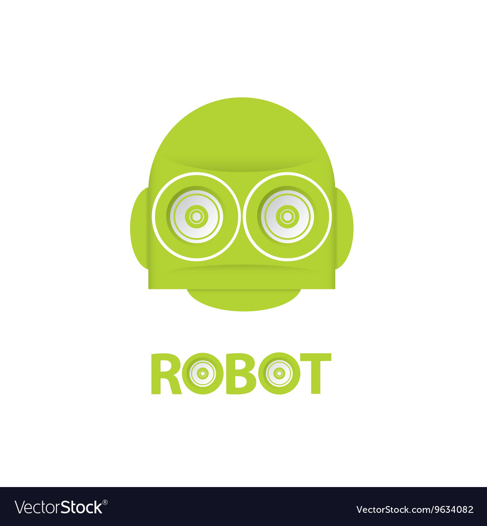 Funny green robot head logo design vector