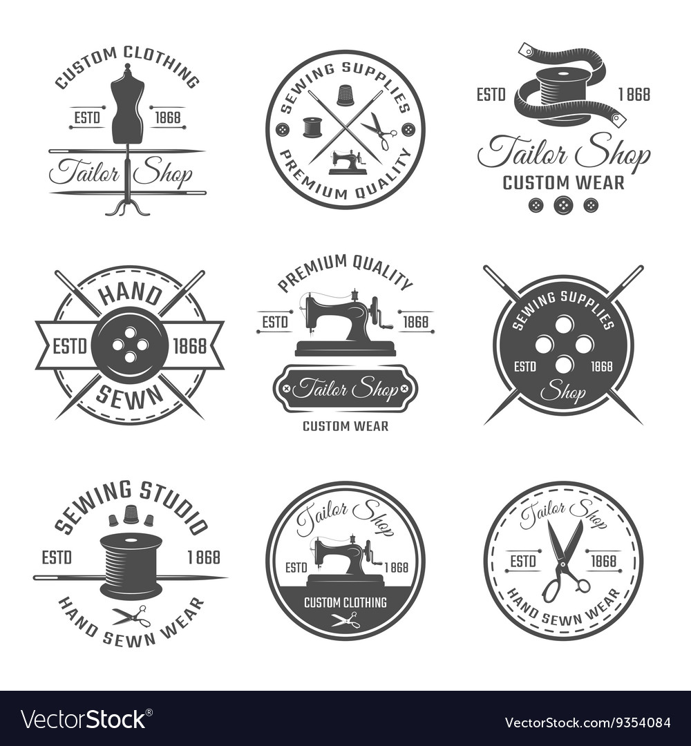 Black tailor emblem set vector