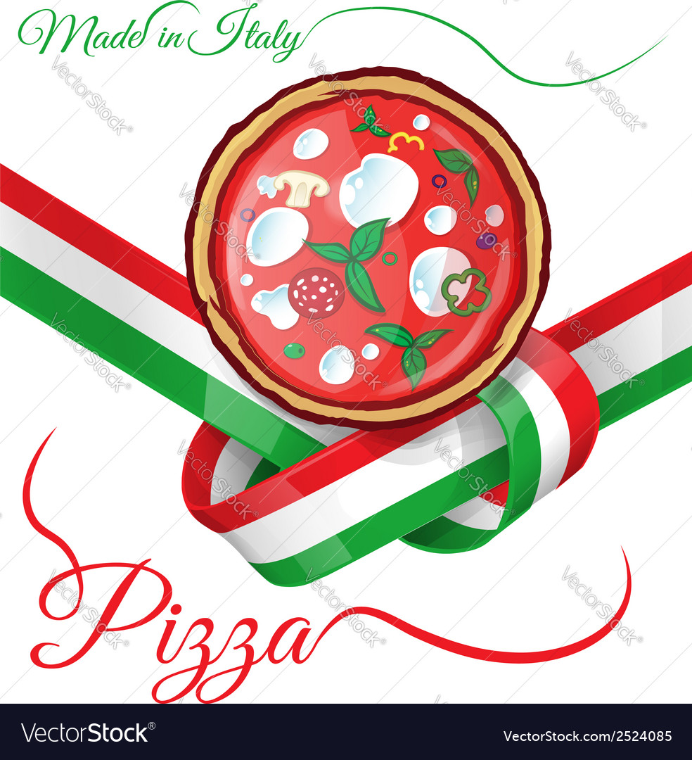 Italian pizza on ribbon flag vector