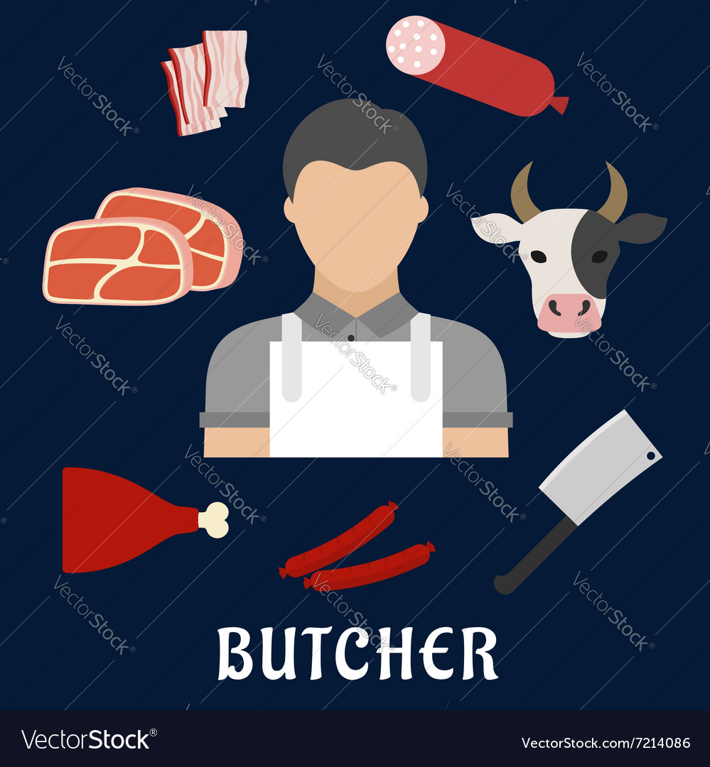 Butcher shop and meat flat icons vector