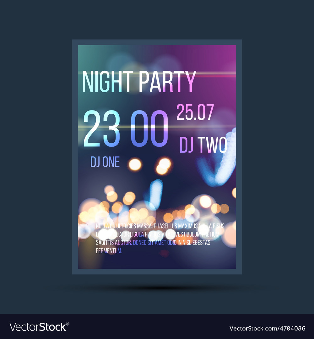Night invitation flyer template vector