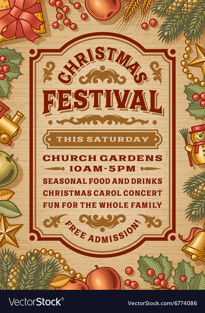 Vintage christmas festival poster vector