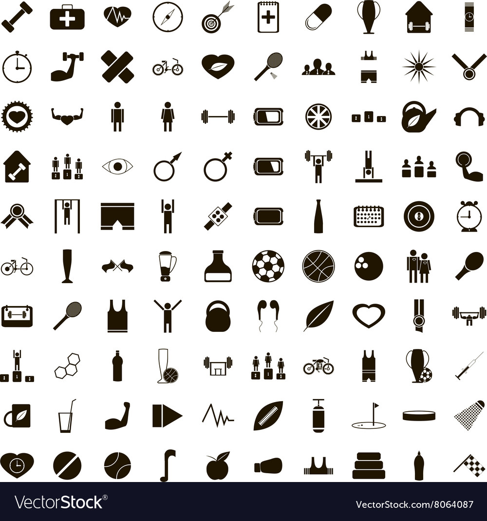 100 sport game icons set simple style vector