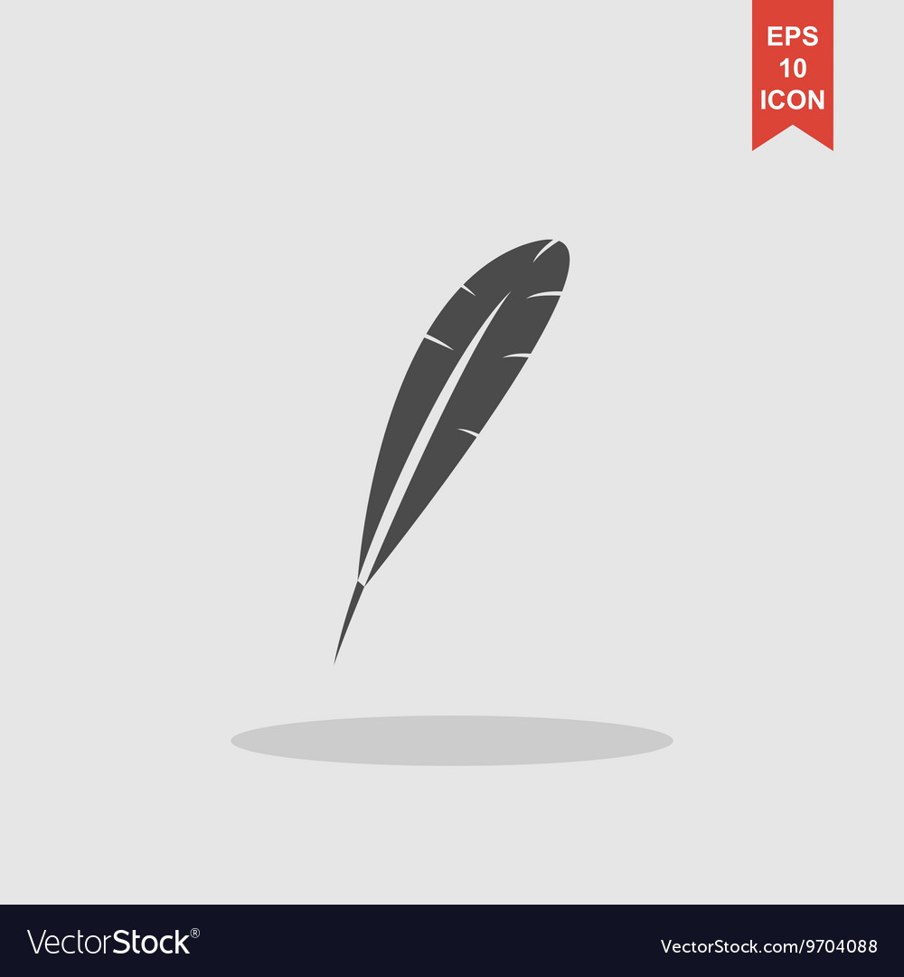 Feather icon flat design style vector