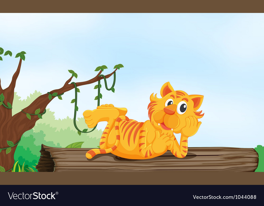 Tiger resting on wood vector