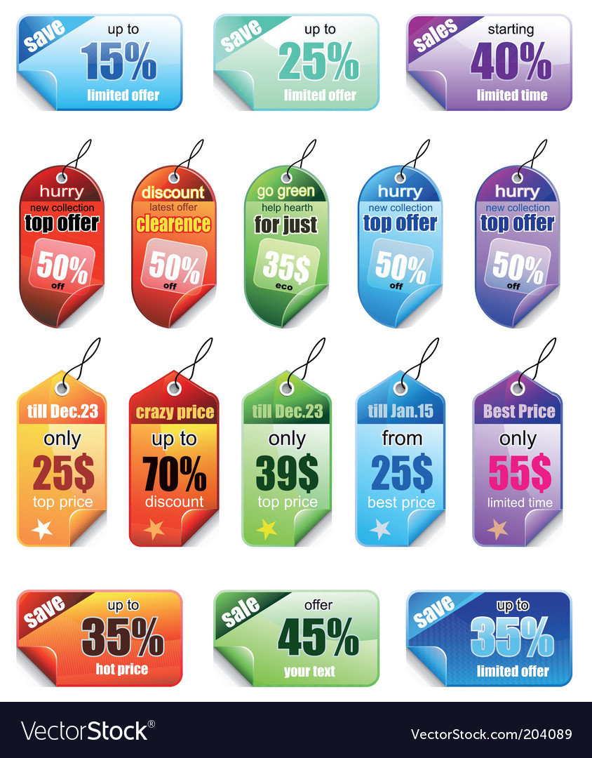 Promotional tags vector