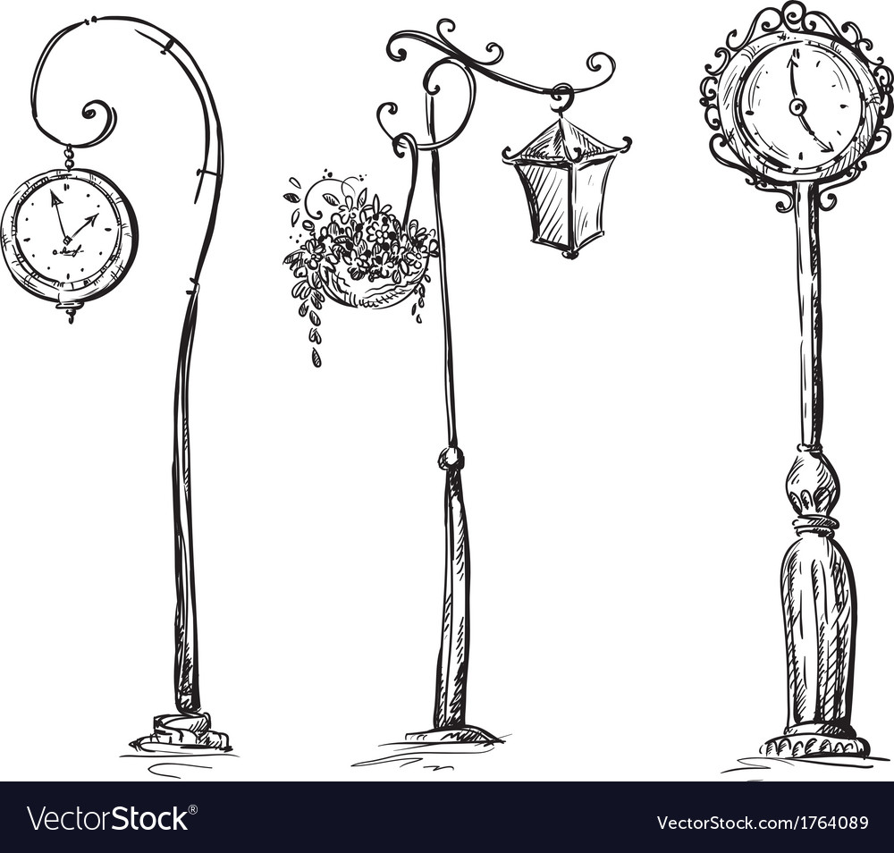 Street clocks and a lamp post handdrawn vector