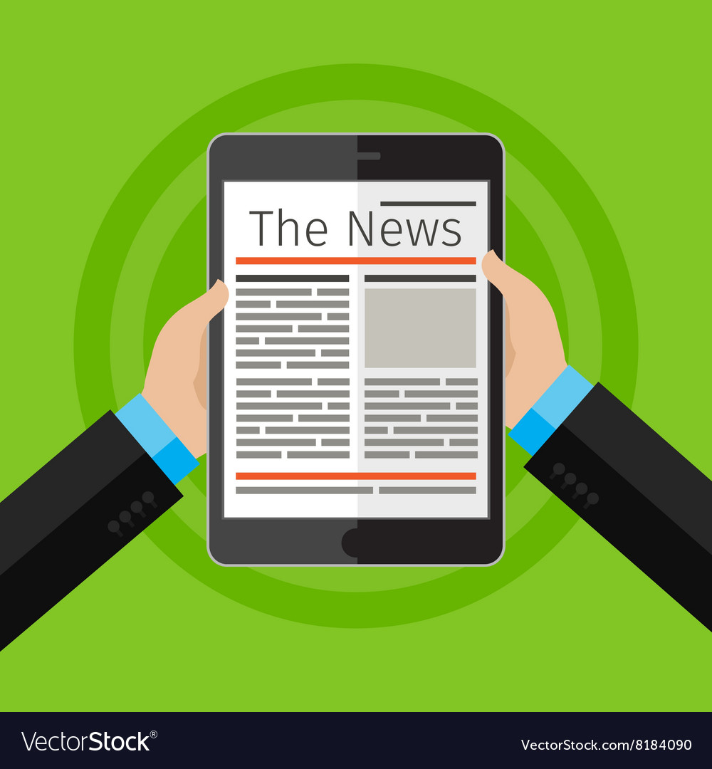 Businessman reading news at digital tablet vector