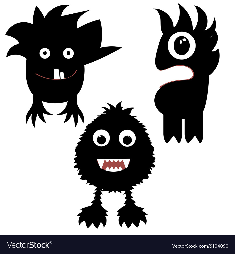 Funny monsters painted black vector