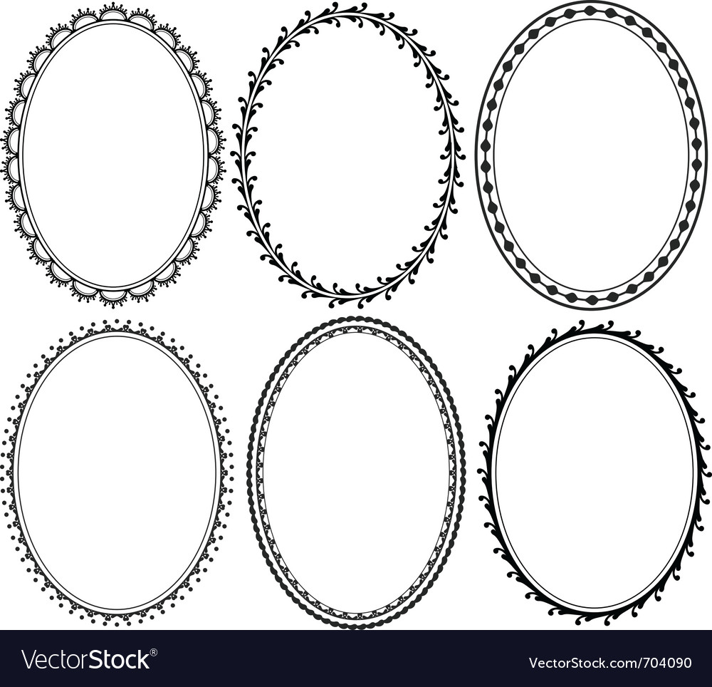 Ornate oval border vector