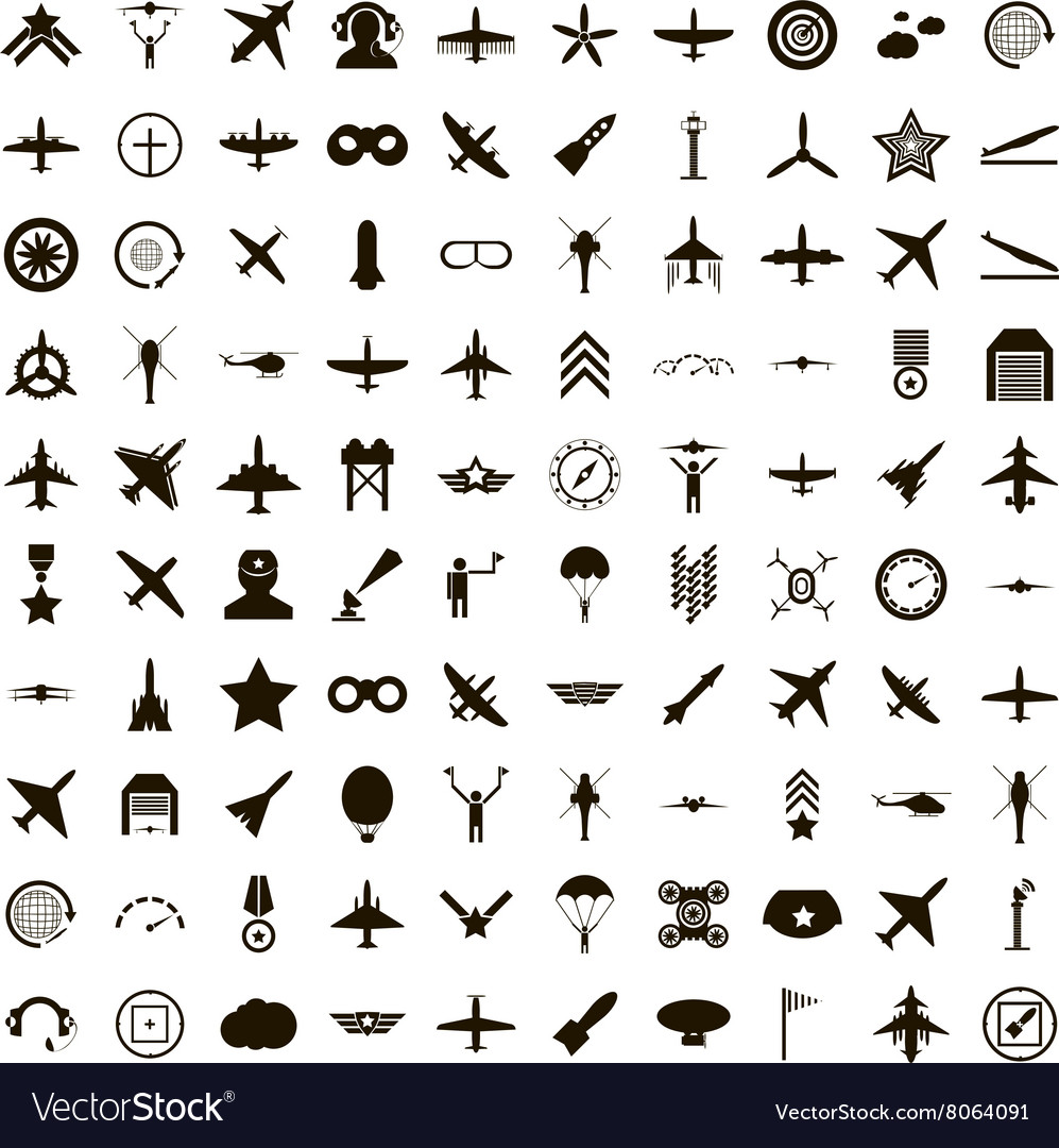 100 aviation icons set simple style vector