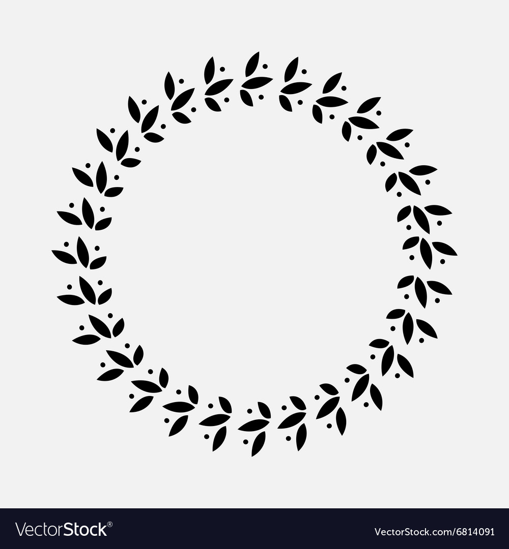 Laurel wreath cicle tattoo black stylized vector