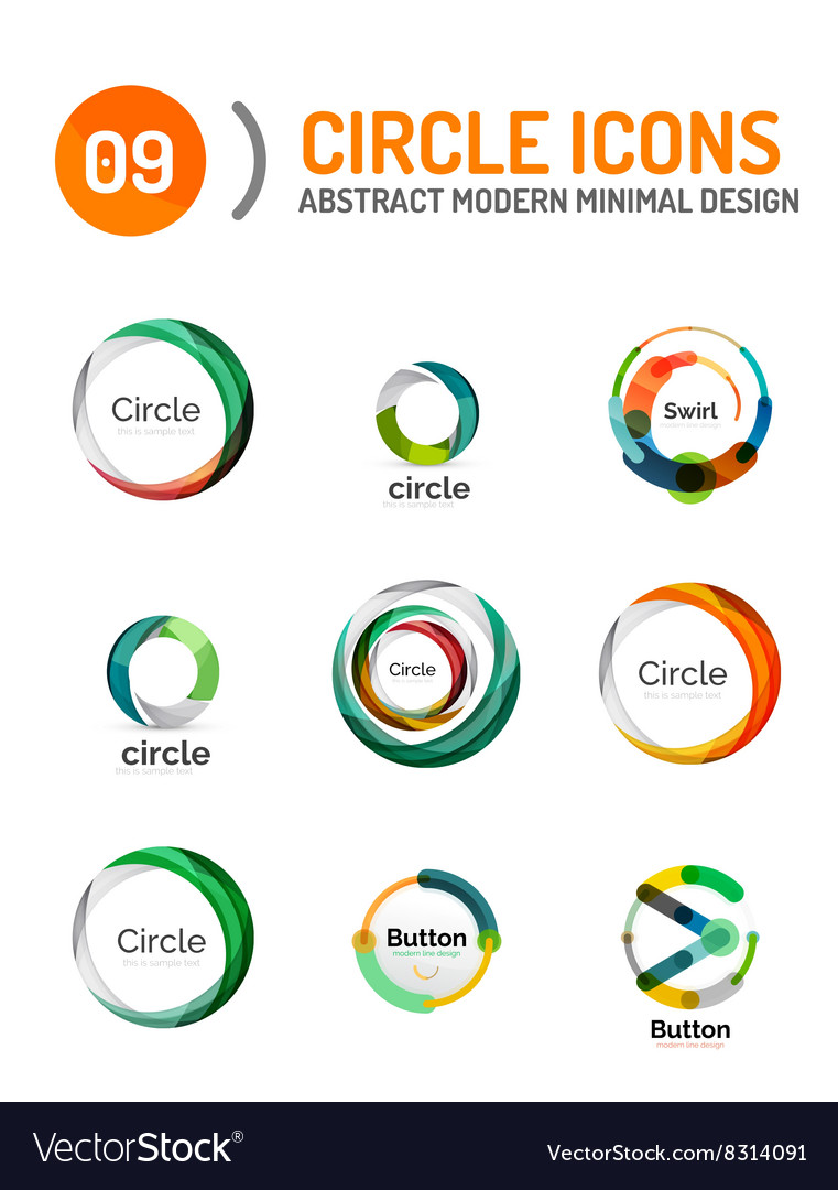 Set of various circle logos vector
