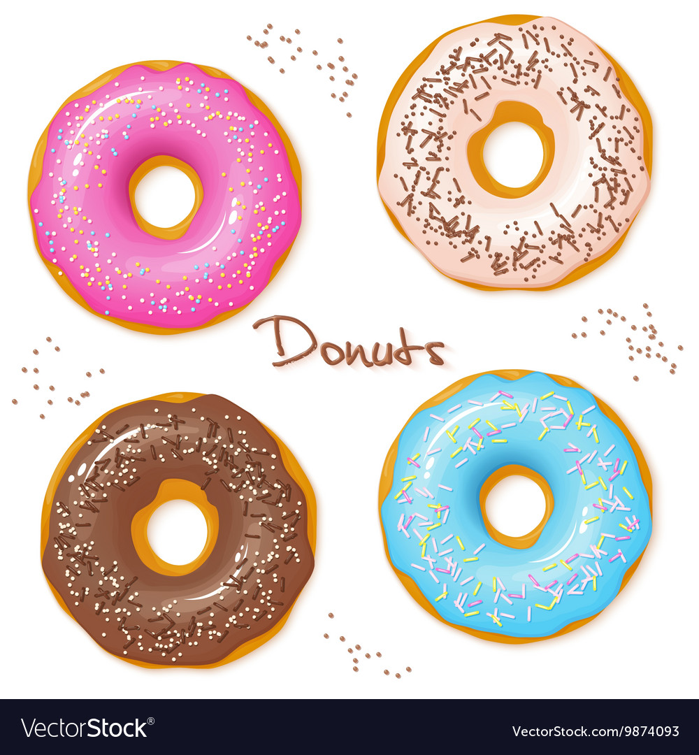 Hand drawn set of four sweet donuts  top view vector
