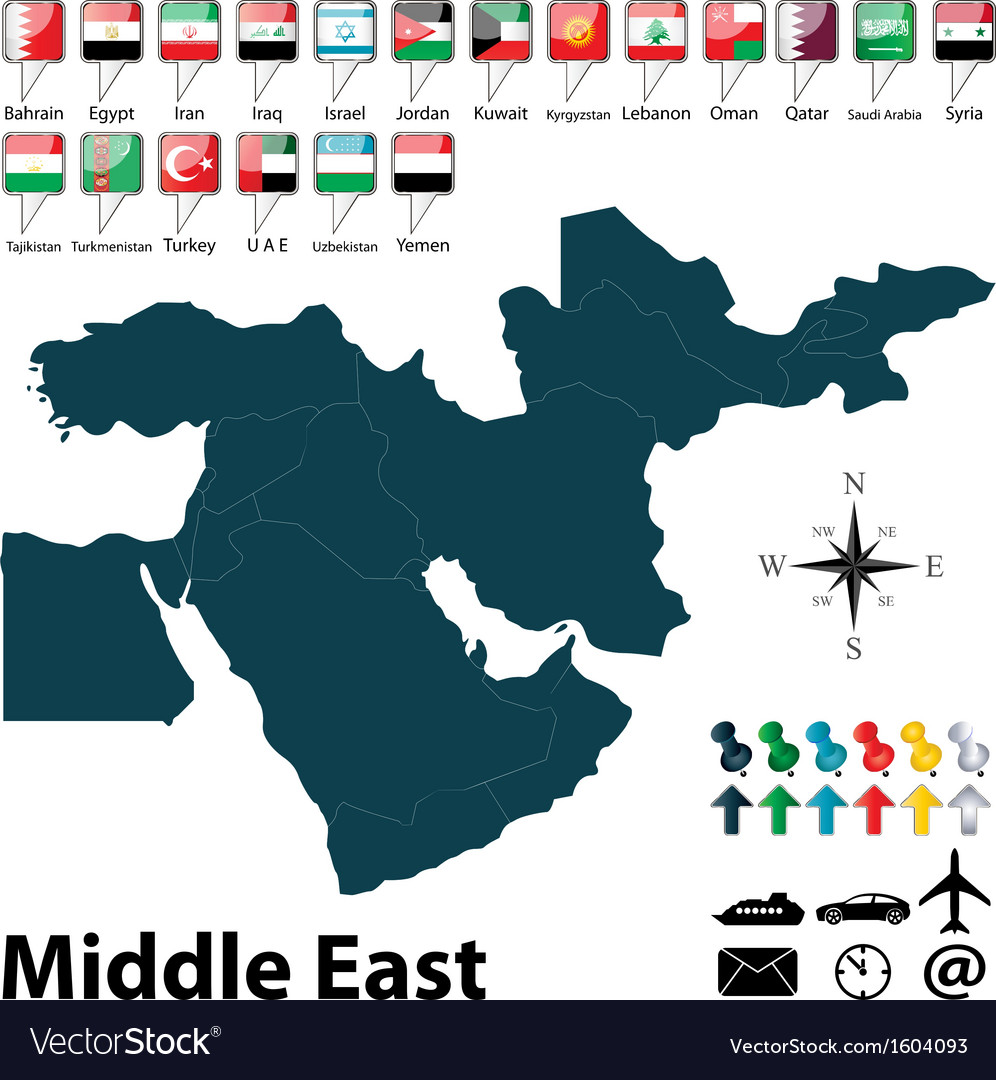 Political map of middle east vector