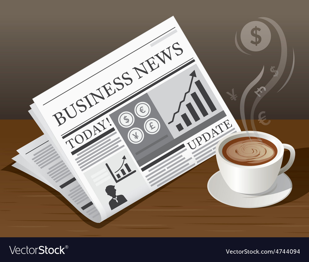 Coffee cup business newspaper and money symbol vector