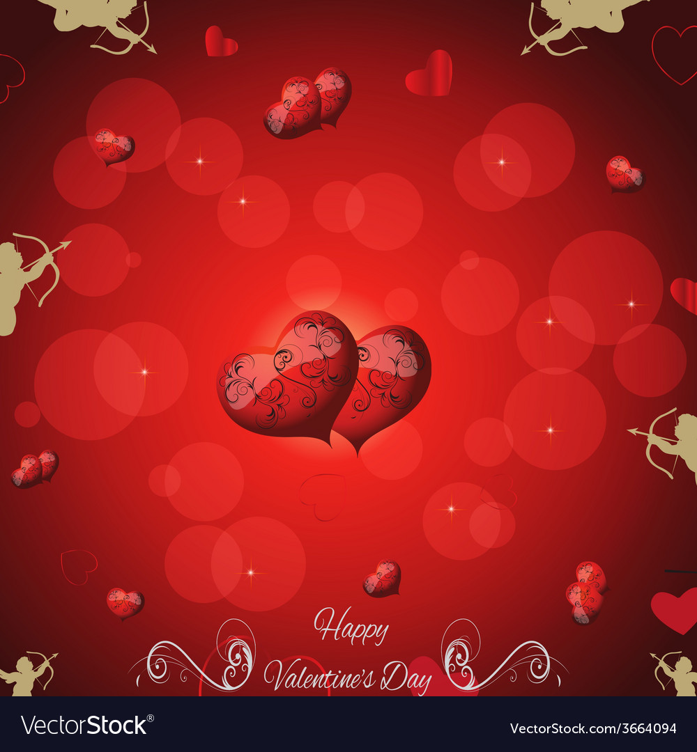 Festive red background with two hearts cupid and t vector