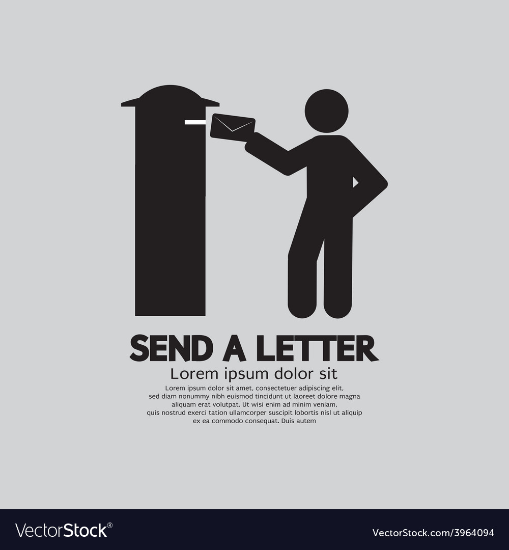 Man sending a letter graphic symbol vector