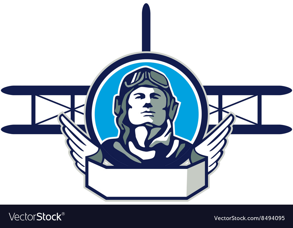 World war one aviator pilot biplane circle retro vector