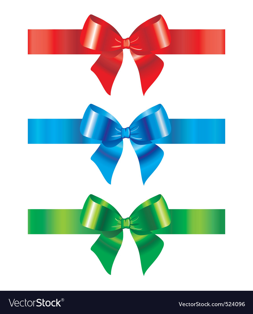 Bow and ribbon set of design vector