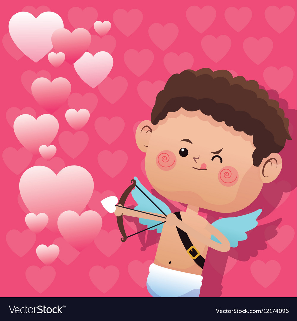 Cute little cupid valentine day shooting bow vector