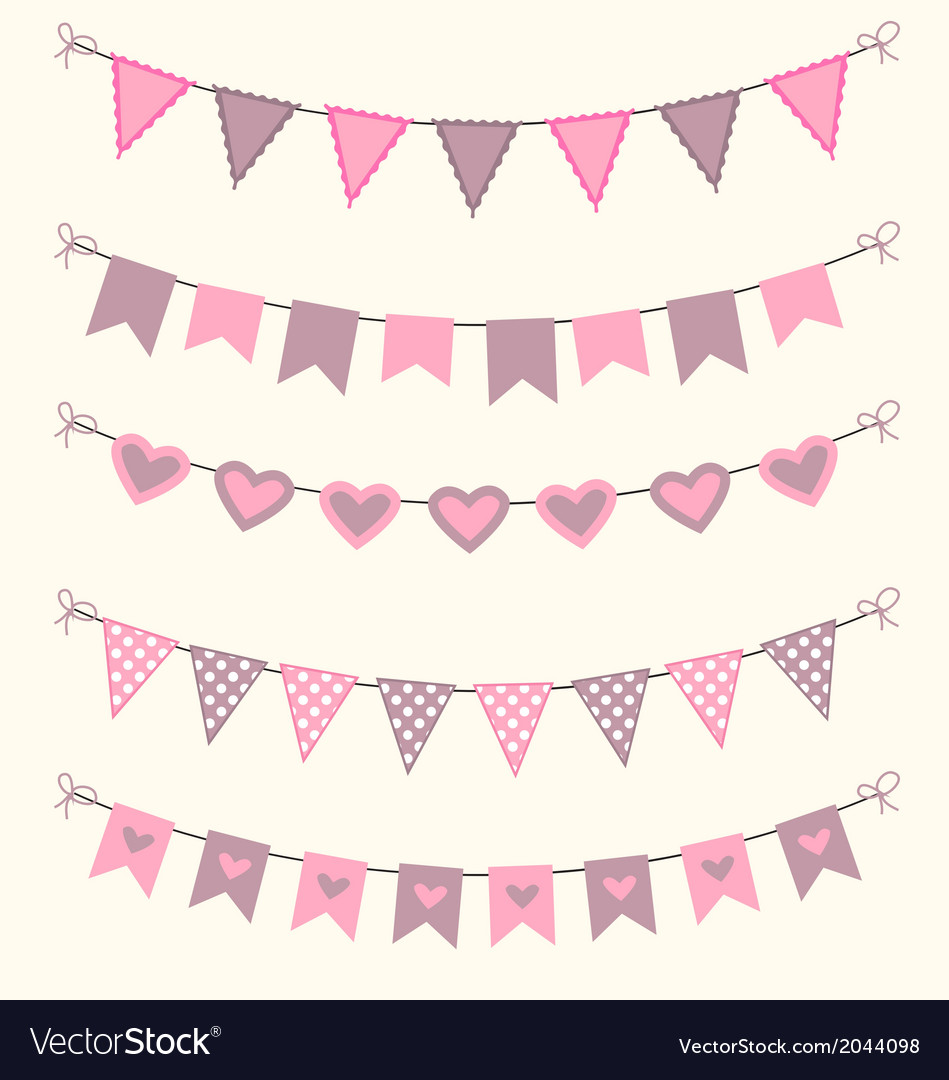 Bunting set patel pink and brown scrapbook design vector